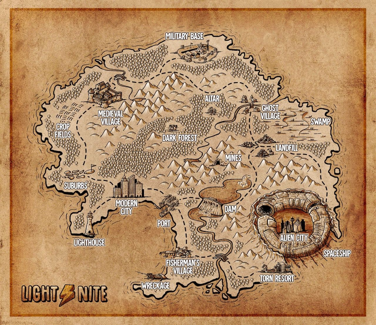 LIGHT⚡NITE - Draft of the game map